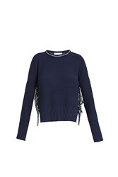 Derek Lam Tassel Knit Sweater Navy