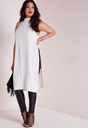 Missguided Plus Size Side Split Tunic Cream Cream
