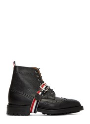 Thom Browne Pebbled Leather Wingtip Brogue Boots Black