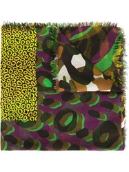 Versace 'Camou Zebra Patchwork' Scarf Green