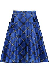 Jonathan Saunders Charlotte Checked Textured Satin Skirt Blue