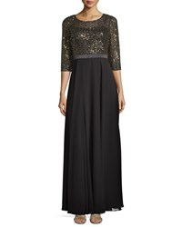 Kay Unger New York Sequin Top Gown Black Gold