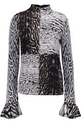 Roberto Cavalli Ruffled Jacquard Knit Turtleneck Sweater Multi