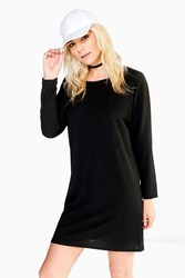 Boohoo Batwing T Shirt Dress Black