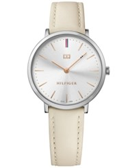Tommy Hilfiger Women's Sophisticated Sport Cream Leather Strap Watch 35Mm 1781691 Silver