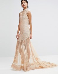 A Star Is Born Embellished Sheer Panel Maxi Dress Nude Pink