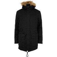 Only And Sons River Island Mens Navy Faux Fur Hooded Parka