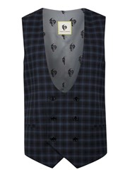 Topman Noose And Monkey Navy And Blue Check Waistcoat