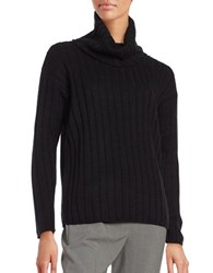 Lord And Taylor Petite Merino Wool Ribbed Turtleneck Sweater Black
