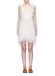 Chloe Dot Embroidered Ruffle Tulle Dress White