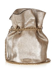 Lanvin Metallic Suede Bucket Bag Silver