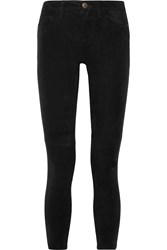 Current Elliott The Stiletto Mid Rise Suede Skinny Jeans Black