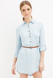 Forever 21 Belted Chambray Shirt Dress Light Denim