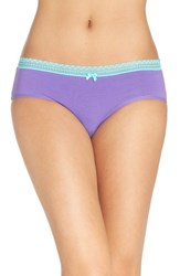 Betsey Johnson Women's Stretch Cotton Hipster Briefs Purple Passion
