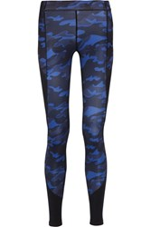 Ivy Park Mesh Paneled Camouflage Print Stretch Jersey Leggings Navy
