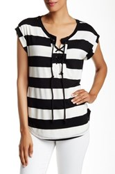 Pleione Striped Lace Up Front Woven Back Tee Black