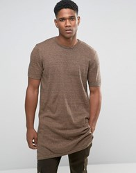Asos Extreme Longline Knitted T Shirt With Side Splits Navy And Camel Twist Brown