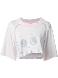 Jenny Fax Printed Cropped T Shirt Pink And Purple