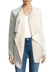 Saks Fifth Avenue Double Faced Open Front Jacket Ivory Oatmeal