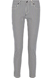 Gbp Striped Mid Rise Straight Leg Jeans Blue