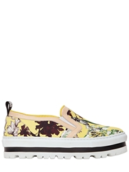 Msgm 40Mm Floral Print Cotton Canvas Sneakers Yellow