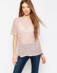 Asos T Shirt In Washed Laddered Fabric Nude