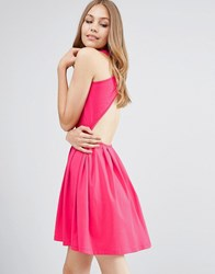 Asos Mini Skater Dress With Cross Back Bright Pink
