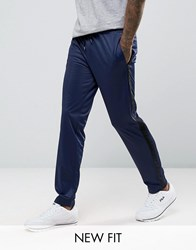 Asos Skinny Joggers In Polytricot With Side Stripe Navy Blue