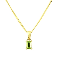 A B Davis 9Ct Gold Peridot Pendant Necklace Green