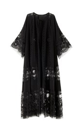 Elie Saab Georgette Lace Coat Black