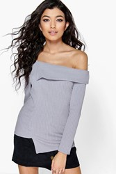 Laura Off The Shoulder Rib Knit Asymmetric Jumper