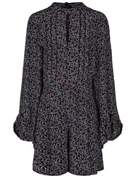 Talitha Black Floral Bell Sleeve Bianca Playsuit