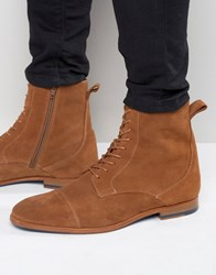 Zign Suede Lace Up Boots Tan
