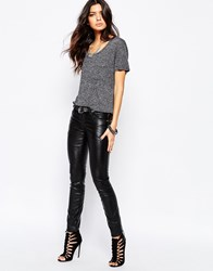 Tripp Nyc Low Rise Leather Look Jean Style Trousers Black