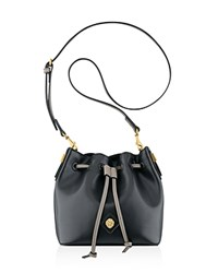 Anne Klein Small Nina Drawstring Bucket Bag Blk Off White Blk Medium Grey