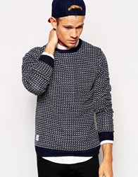 Native Youth Pattern Knitted Crew Neck Jumper Navy