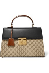 Gucci Padlock Leather Trimmed Coated Canvas Tote Beige