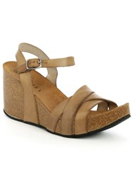 Daniel Beverlywood Strappy High Wedge Sandals Brown