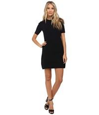 Marc By Marc Jacobs Scooter Sweater Short Sleeve Dress W Shoulder Buttons Black Women's Dress