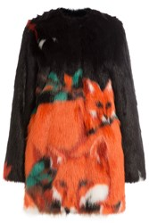 Marco De Vincenzo Fox Printed Faux Fur Coat Multicolor