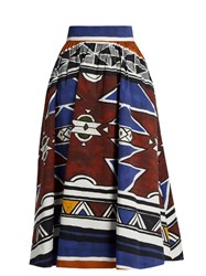 Stella Jean Graphic Print Cotton Midi Skirt Blue Multi