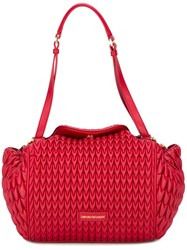 Emporio Armani Jacquard Shoulder Bag Red