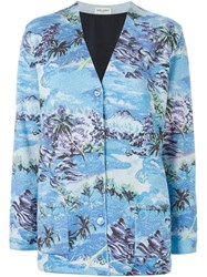 Saint Laurent Palm Beach Print Cardigan Blue