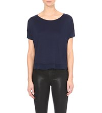 French Connection Plain French Short Sleeved Top Navy