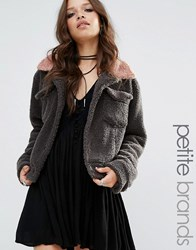 Glamorous Petite Faux Shearling Contrast Collar Jacket Grey