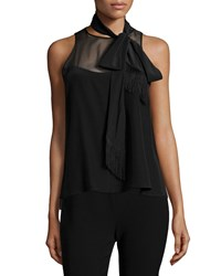 Elizabeth And James Carla Sleeveless Tie Neck Top Black