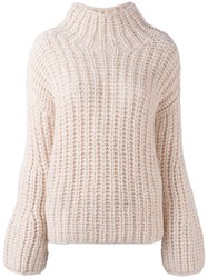 Iris Von Arnim Turtleneck Ribbed Sweater Nude Neutrals