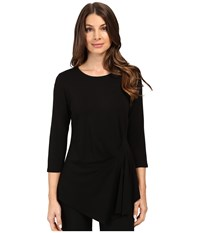Vince Camuto 3 4 Sleeve Side Ruched Top Rich Black Women's Clothing