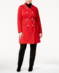 Inc International Concepts Plus Size Double Breasted Coat Only At Macy's Real Red