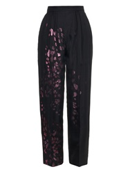 Joe Richards Selena Metallic Leopard Print Wool Trousers